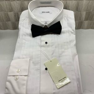 NWT Pierre Cardin White Tuxedo Shirt and Bow tie